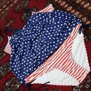 Rosegal patriotic flag tankini
